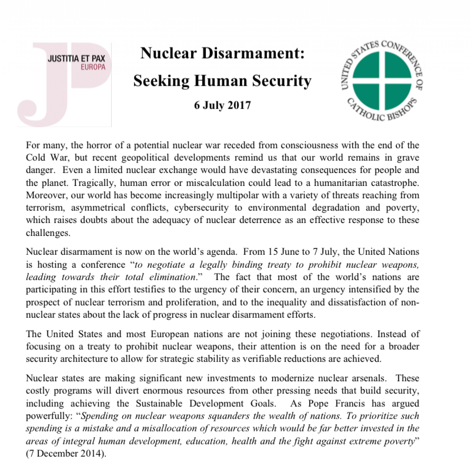 Nuclear Disarmament: Seeking Human Security