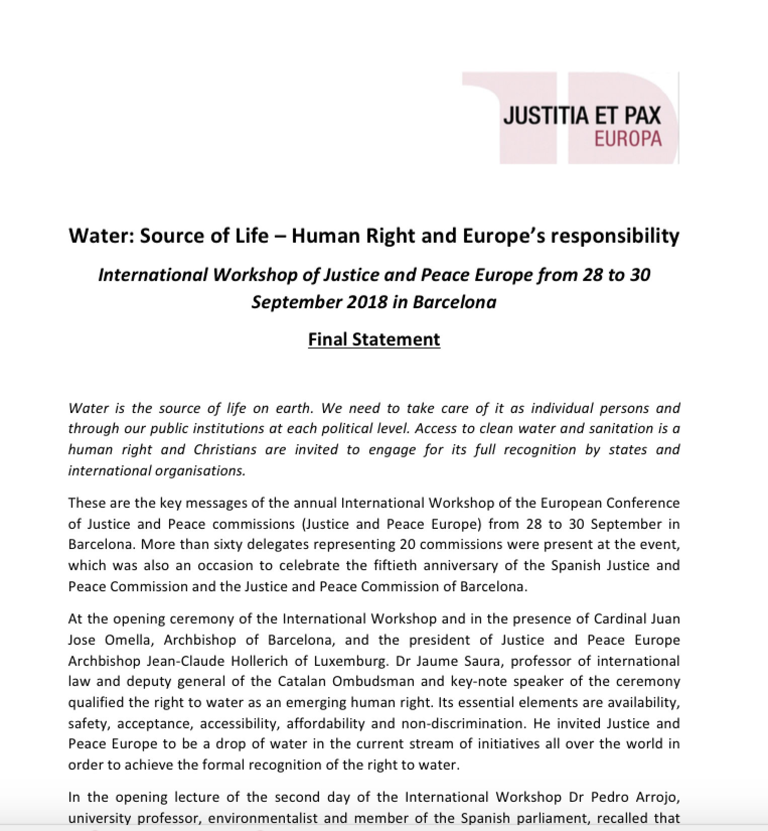 Water: Source of Life – Human Right and Europe's responsibility