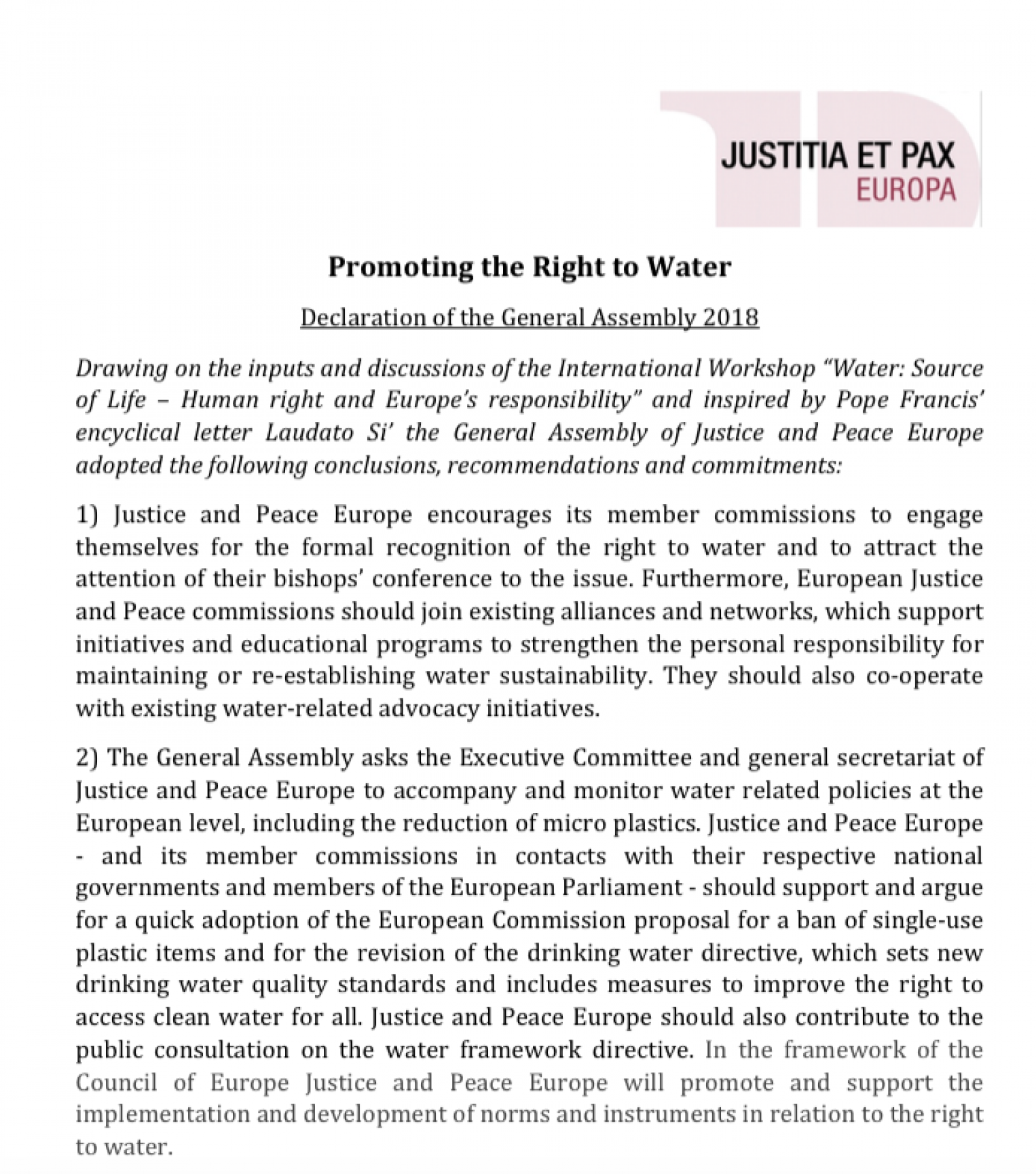 Promoting the Right to Water